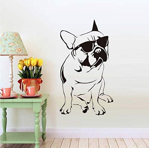 【mzdzhp】【Kann angepasst werden, Größe, Farbe, DIY-Muster】Hübsche Französische Bulldogge Mit Sonnenbrille Wandaufkleber Junge Schlafzimmer Vinyl Tier Wandtattoo Kind Dekoration 58X104cm