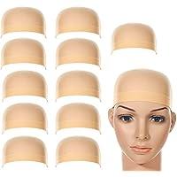 LABOTA Gorras de Peluca de Nylon Elástico; Beige Natural; Para Mujeres y Hombres; 12 piezas