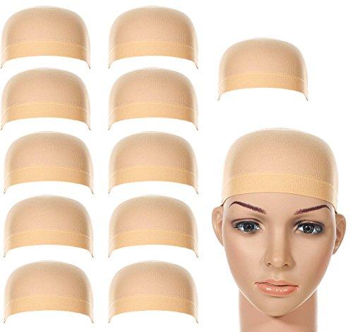 LABOTA 12 Stück Perücke Caps Perücke Kappen Nylon ; Neutral Nude Beige; für Frauen und Männer