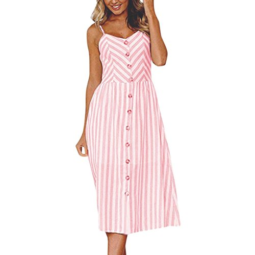 ITISME Women Sexy Stripe Buttons Off Shoulder Sleeveless Dress Princess Dress PK/L