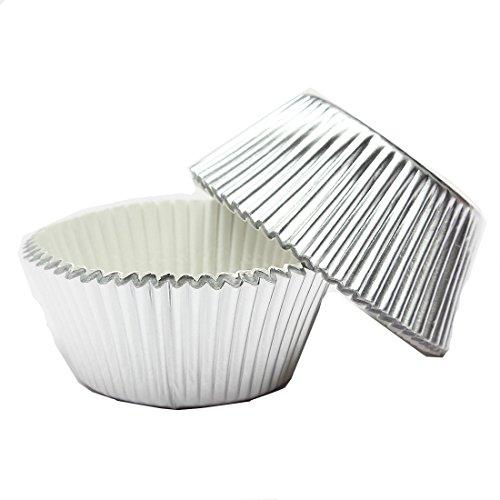 SODIAL(R) Papier fuer Kuchen Tasse Cupcake Case Liner Muffin Kueche Backen Hochzeitsfeier - 100pcs silber