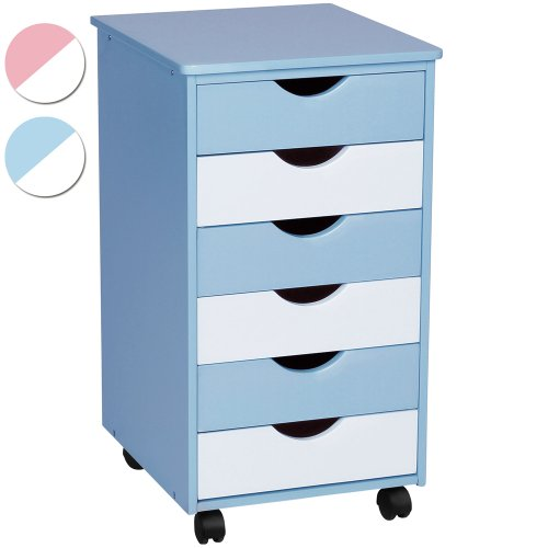 Infantastic Rollcontainer (65 x 36 x 40 cm) | Schubladenschrank Holzkommode Kinderzimmer Kommode | Farbwahl: rosa/weiss oder blau/weiss