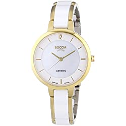 Boccia Women's Quartz Watch with Mother of Pearl Dial Analogue Display and White Ceramic Bracelet B3236-02