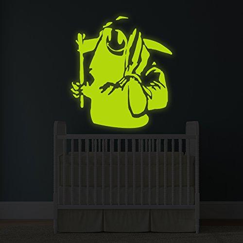 (164x 180cm) Banksy Glowing Vinyl Wand Aufkleber Death mit Happy Smile Face/Glow in Dark Doom mit Braid Aufkleber/Leuchtziffern Wandbild + Gratis Aufkleber Geschenk (Happy Face-wand-aufkleber)