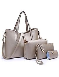 SIFINI Mujeres Moda PU Mano bolso de cuero + bolso de hombro + Billetera +  titular 372c951ed677