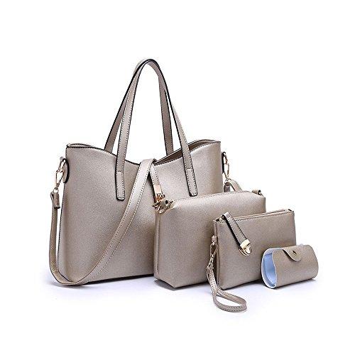 SIFINI Frauen Mode PU Leder Handtasche + Schultertasche + Geldbörse + Kartenhalter 4er Set Tote Bag