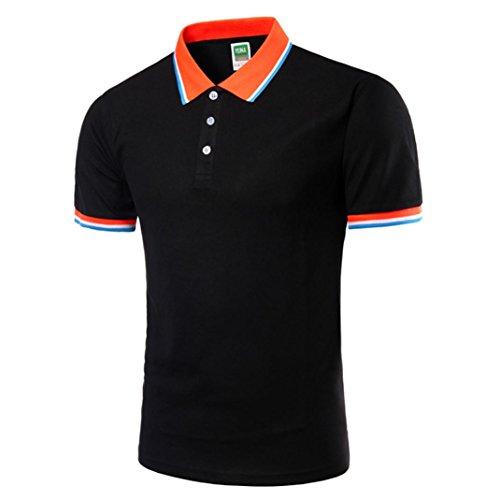 Polo Sport T-Shirt Uni Homme M à 2XL,Covermason Homme Polo Shirts Manche Courte Casual T-Shirt Mode Mince Fit Fawn Imprimer Chemise Tee Tops (Noir, L)
