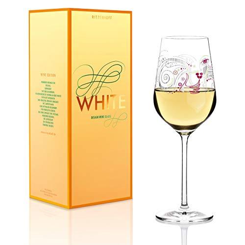 RITZENHOFF White Weißweinglas von Michal Shalev, aus Kristallglas, 360 ml, mit edlen Platinanteilen