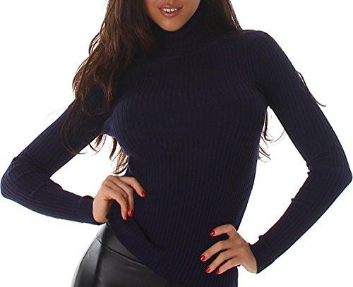 Voyelles Pull Shirt Pullover Sweater Sweat-shirt Collier à col Manches longues Uni Rib tricot Marine