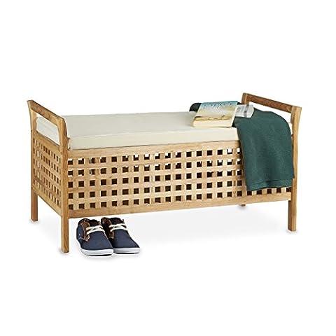 Relaxdays Sitzbank Walnuss mit Stauraum HBT: 46,5 x 92,6 x 49,0 cm Schuhtruhe aus Holz Sitzkommode mit Auflage aus Leinen, Dielenmöbel Truhenbank, natur