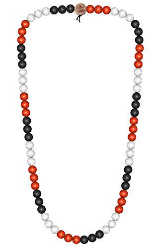Wood Fellas Unisex Deluxe Holz-Perlenkette Black/red/White 6mm