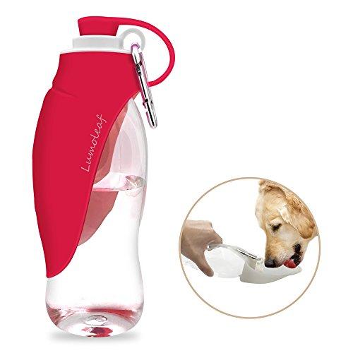 LumoLeaf Botella de Agua para Perros Portátil, Botella de Agua de Viaje para Mascotas, dispensador de agua reversible y liviano para perros y gatos, fabricado con silicona para alimentos (550ML) -Rosa