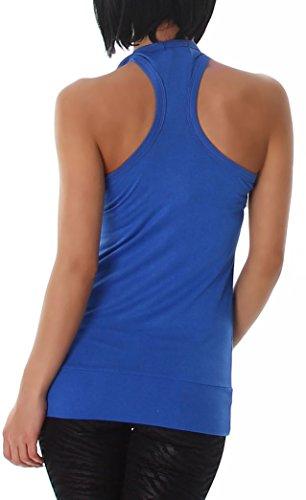 Damen Tank Top, langes Top ärmelfrei und in vielen Farben erhältlich (34-38) Blue