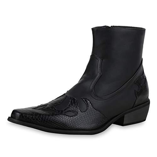 SCARPE VITA Herren Stiefeletten Cowboy Boots Kroko Schuhe Western Stiefel 172024 Schwarz Kroko 45