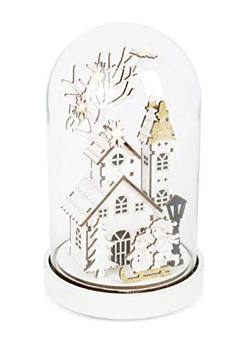 Small Foot Leuchtglocke Winterzauber mit LED-Beleuchtung, aus feinem Holz gearbeitetes Winterdorf unter einer Glasglocke mit Holzfuß, Weihnachtsdeko Dekoartikel, weiss