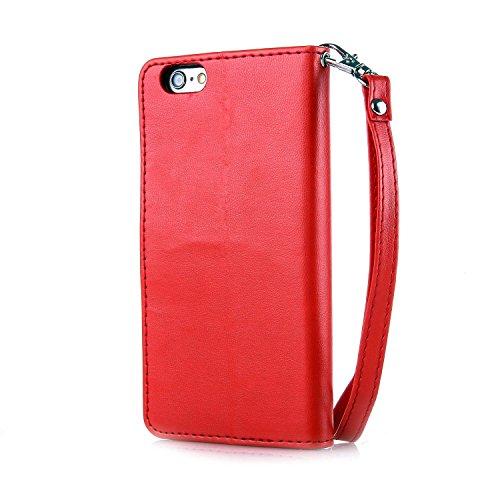 Voguecase® Pour Apple iPhone 7 Coque, Étui en cuir synthétique chic avec fonction support pratique pour Apple iPhone 7 (Plume-Gris)de Gratuit stylet l'écran aléatoire universelle Papillon d'or-Rouge