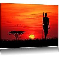 Dark Rosso tramonto in Africa, la pittura su tela, enorme XXL Immagini completamente Pagina con la barella, stampe d'arte su murale con telaio, più economico di pittura o pittura ad olio, nessun manifesto o poster dimensioni: 100x70 cm
