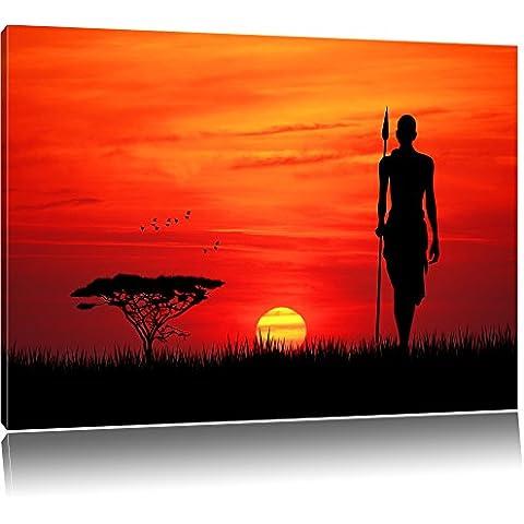 Dark Rosso tramonto in Africa, la pittura su tela, enorme XXL Immagini completamente Pagina con la barella, stampe d'arte su murale con telaio, più economico di pittura o pittura ad olio, nessun manifesto o poster dimensioni: 120x80 cm