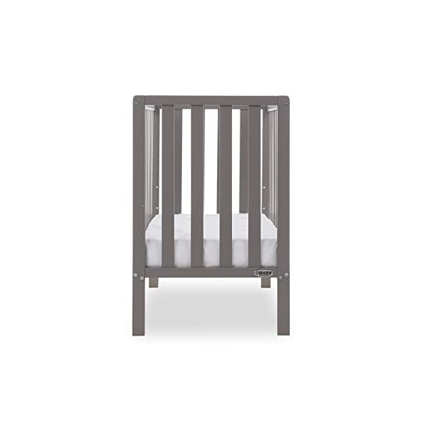 Obaby Bantam Space Saver Cot - Taupe Grey Obaby Adjustable, 3 position base height Beautiful slatted ends and sides help you keep an eye on your little one Teething rails ensure delicate teeth are protected 5