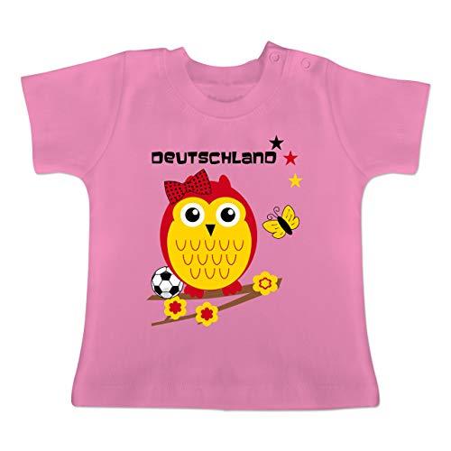 Fußball-Europameisterschaft 2020 - Baby - Deutschland Eule - 1-3 Monate - Pink - BZ02 - Baby T-Shirt Kurzarm