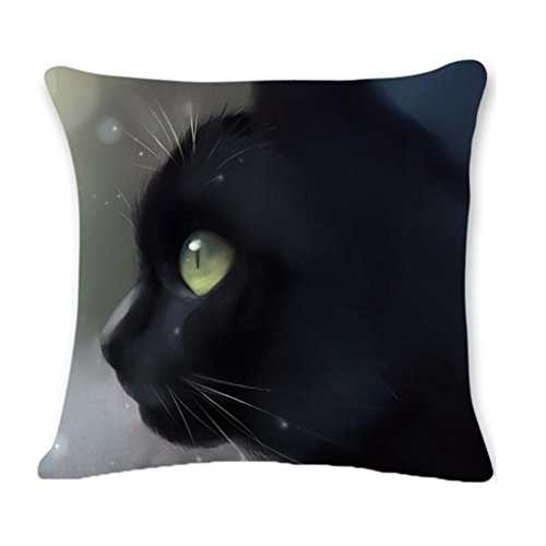 Faux-leder-dekorative Kissen (3D Schwarz Katze bedruckt Kissen Fall 18x 18, vneirw Sofa Home Decor Quadratisch Überwurf Kissenbezüge Kissen, B, 45cm*45cm/18