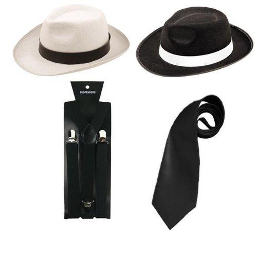 1920 s 'Gangster Fancy Dress Herren Kostüm Mob Hosenträger Set (Mütze (Gangster Mob Kostüm)