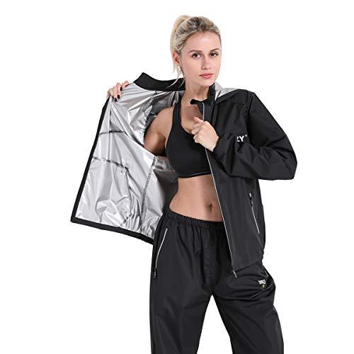 DNRZY F.I.T Sauna-Schweißanzug für Frauen, lockerer Sitz, Fitness, Training, Workout, Kleidung, Kapuzenjacke, Hose, Anzüge, L 99-120lb