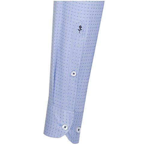 SEIDENSTICKER Herren Hemd Slim 1/1-Arm Bügelfrei Karo City-Hemd Kent-Kragen Kombimanschette weitenverstellbar blau (0016)