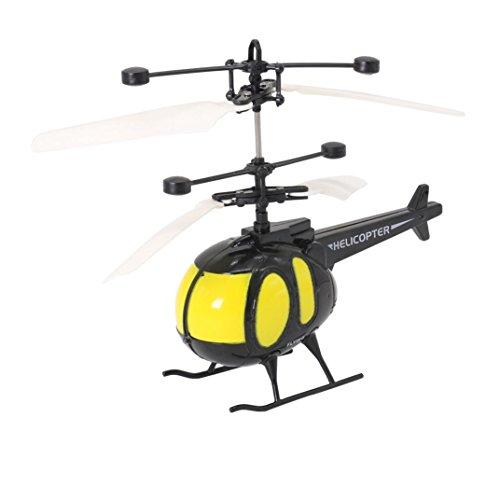 Omiky® Hobby Mini Induktion Fliegen Hubschrauber Ersetzen Flugzeug Spielzeug Geschenk für Kinder-LED-Beleuchtungs Spielzeug (Gelb)