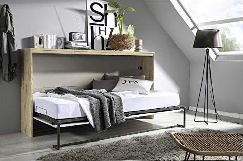Funktionsbett weiß grau Gästebett Klappbett + Lattenrahmen Raumsparbett Wandbett Gästezimmer Kinderbett Jugendliege Bettliege Jugendzimmer - 2