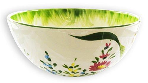 Lashuma handgemachte Salatschüssel mittel, italienische Keramik Schüssel mit Blumenwiesen Muster, Salat - Schale rund ca. 22 cm (Keramik Italienische Pasta-schalen)