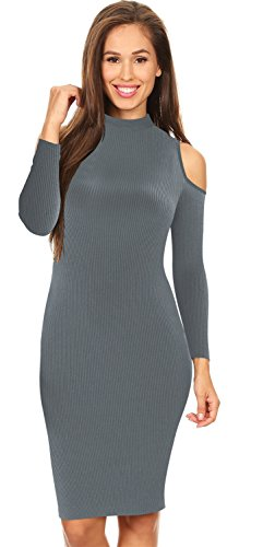Warm Langarm Hohem Ausschnitt Schulterfrei Schulterfreies Kalte Schulter Gerippter Mini Minikleid Bodycon Etui Etuikleid Figurbetontes Sweater Pullover Strickpullover Kleid Dunkelgrau M (Mock Ribbed Neck Sweater Knit)