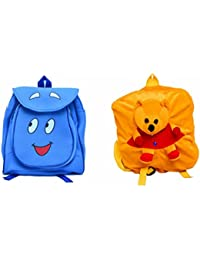 Pratham Enterprises Combo Of Blue Smile Bag And Yellow Bear Soft Toy Bag ( Pack Of 2 )