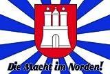 Hamburg Die Macht im Norden Wappen & Shiloette Fussball Fahne Flagge Grösse 1,50x0,90m - FRIP –Versand®