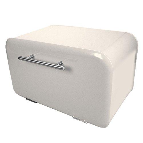Brotkasten Brotbox Brottrommel Retro, Front-Lader, nach vorne öffnend, Metall, ca. 35.5 x 20.5 x 21.5 cm, creme-weiß