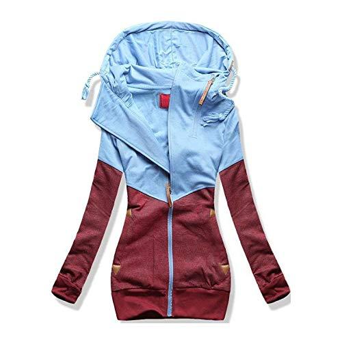 Maglione Casual da Donna a Maniche Lunghe con Doppia Cerniera Abbinato al Colore con Cappuccio più Giacca in Velluto con Cappuccio Femm