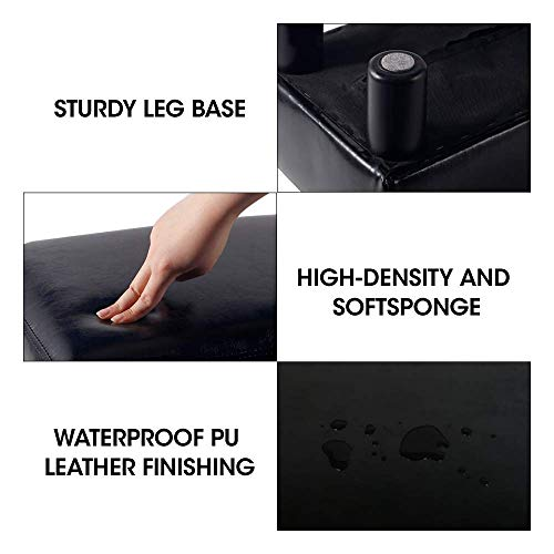 scriptract 6″ Small Footstool PU Leather Ottoman Footrest Modern Home Living Room Bedroom Rectangular Stool with Padded Seat (black)