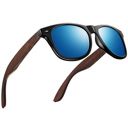 FEIDU Sonnenbrille herren holz Zwei Stile zur Auswahl - Polarisierte sonnenbrille holz Klassischer Stil Und Einfacher Stil Unisex FD 9003H (Blau-Klassischer, 50)