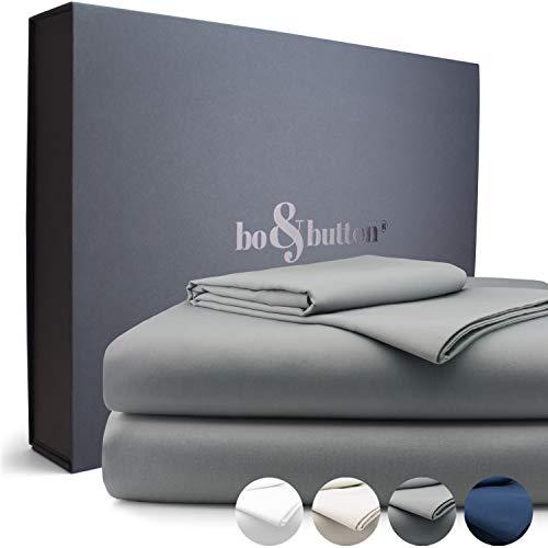 bo&button® Echte Luxusbettwäsche zum besten Preis | Bettwäsche Set, 2 teilig | Superweiches Mako Satin aus 100% feinster Bio Baumwolle | Größe 135 x 200 + 80 x 80 cm, Farbe Stone/Grau/Anthrazit -