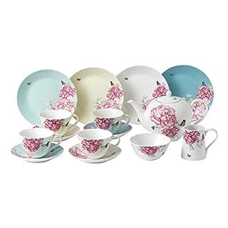 Miranda Kerr by Royal Albert 15 Pc Set Mixed Colours-(4 Plate 20cm, Teacup & Saucers, Teapot, Sugar & Cream), Porcelain Multi, 41 x 28.5 x 28.7 cm