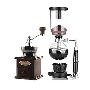 FYHKF Sifone Caffettiera Set caffè Siphon Technia caffettiera Set sifone in Vetro Set Regalo caffè 2 Stili, 13 * 34,3 cm (3 Tazze), 13,5 * 37 cm (5 Tazze) (Dimensioni : 13 * 34.3cm(3 Cups))