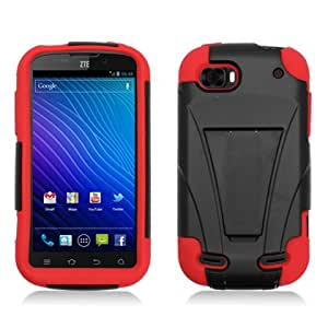 Aimo ZTEN861PCMSK003S Durable Rugged Hybrid Case for ZTE Warp Sequent N861 - 1 Pack - Retail Packaging - Black/Red