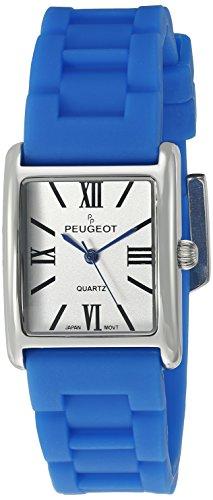 peugeot-womens-silver-tank-quartz-metal-and-rubber-dress-watch-colorblue-model-3066sbl