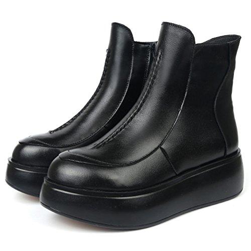 MatchLife femme martin fond épais chaussures bottes style2 Noir