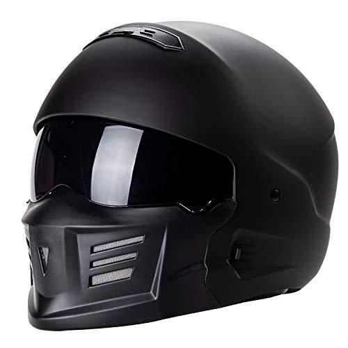 QHZ Harley Motorrad Jet Helm Abnehmbares Kinn Eingebautes Objektiv Modular DOT-Zertifizierter Integralhelm 3/4 Integralhelm Pilot Boy Girl Cruiser Integralhelm,3,L (Cruiser Modulare Motorrad Helm)