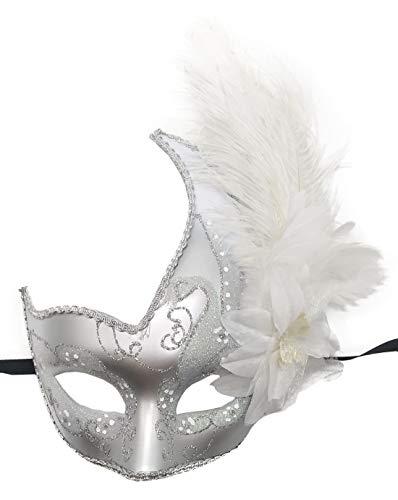 (Coolwife Kostüm Maske Feder Maskerade Maske Halloween Karneval Cosplay Partei Masque (Silber Weiss))