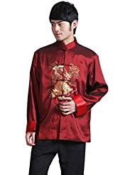 Bigood Veste Homme Satin Dragon Brodé Blouson Kung-fu Traditionnel Chic