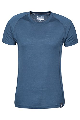 Mountain Warehouse Summit Merino Herren T-Shirt Unterhemd Thermounterwäsche Funktionsunterwäsche Ski Snowboard Winter Baselayer Marineblau Large -