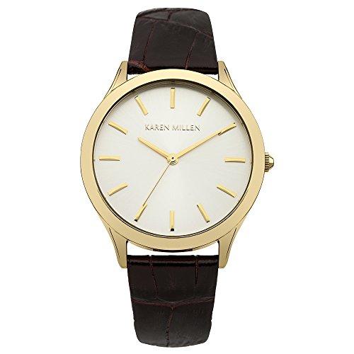 Karen Millen KM106TGA Ladies Dark Brown Crock Pattern Leather Strap Watch