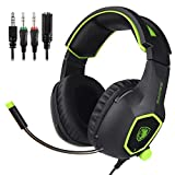 SADES SA818 - Auriculares para juegos con micrófono para PS4 / PS4 PRO / Xbox One / Xbox One S / Laptop / Mac / Tablet / iPhone / iPad / iPod, Color Negro y Verde
